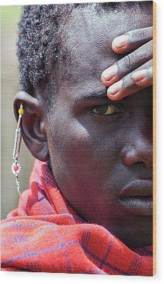 African Maasai Warrior Wood Print by Amyn Nasser