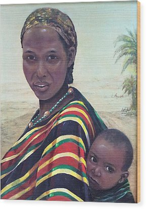 African Mother And Child Wood Print by Laila Awad Jamaleldin