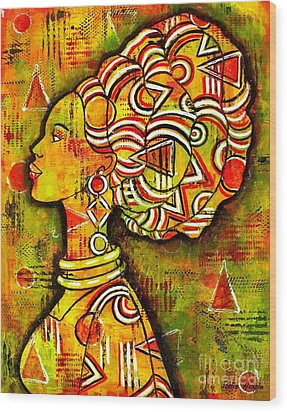 Wood Print featuring the painting African Queen by Julie Hoyle
