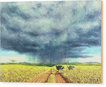 African Storm Wood Print