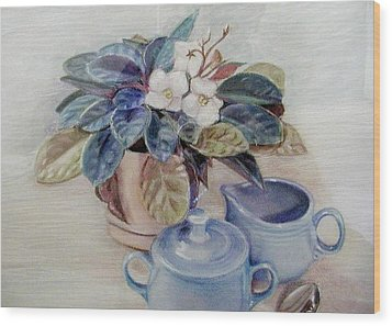 African Violet Still Life Wood Print by Martha Ayotte