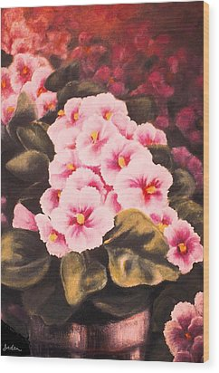African Violets Wood Print by Jordana Sands