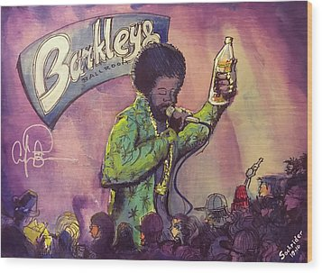 Wood Print featuring the painting Afroman At Barkleys by David Sockrider