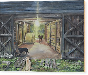 Wood Print featuring the painting After Hours In Pa's Barn - Barn Lights - Labs by Jan Dappen