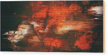 After Midnight - Black Orange And White Contemporary Abstract Art Wood Print