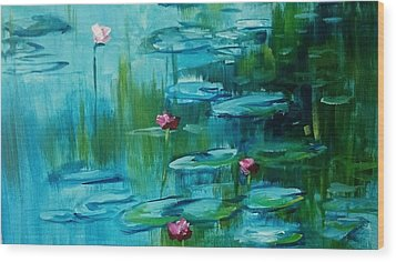 After Monet Wood Print by Kathy  Karas