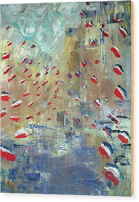 After Monet's Rue Montorgueil Wood Print by Michela Akers