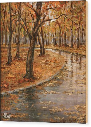 After Rain,walk In The Central Park Wood Print