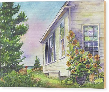 Wood Print featuring the painting After School Activities At Monhegan School House by Susan Herbst