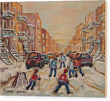 Wood Print featuring the painting After School Hockey Game by Carole Spandau