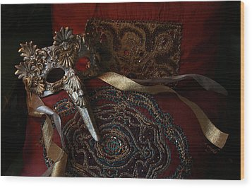 After The Ball - Venetian Mask Wood Print by Yvonne Wright