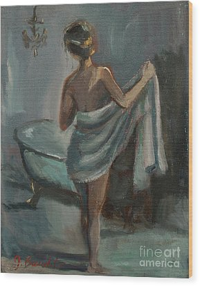 Wood Print featuring the painting After The Bath by Jennifer Beaudet