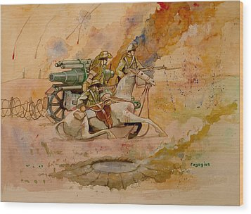Wood Print featuring the painting After The Charge by Ray Agius