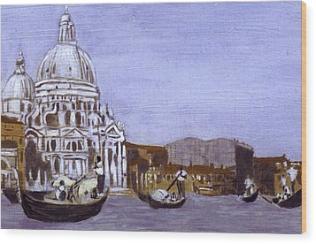 After The Grand Canal And The Church Of The Salute Wood Print by Hyper - Canaletto