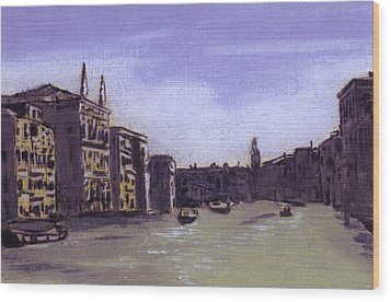 After The Grand Canal From Campo San Vio Near The Rialto Bridge Wood Print by Hyper - Canaletto