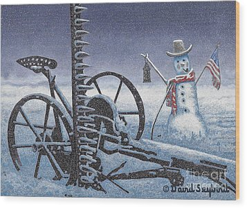 After The Harvest Snowman Wood Print by John Stephens