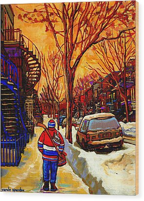 After The Hockey Game A Winter Walk At Sundown Montreal City Scene Painting  By Carole Spandau Wood Print by Carole Spandau