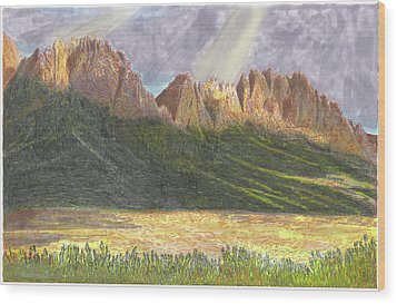 Wood Print featuring the painting After The Monsoon Organ Mountains by Jack Pumphrey