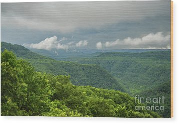 Wood Print featuring the photograph After The Rain - The Bluestone Gorge At Pipestem State Park by Kerri Farley