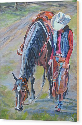 After The Ride Wood Print by Anne West