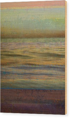 Wood Print featuring the photograph After The Sunset - Teal Sky by Michelle Calkins