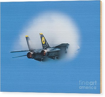 Afterburners Ablaze Wood Print by Allan Levin