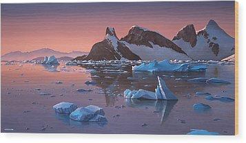 Afterglow Lemarie Channel Antarctica Wood Print by Cliff Wassmann