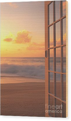 Afternoon Beach Scene Wood Print by Dana Edmunds - Printscapes