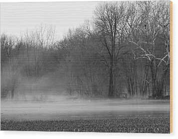 Afternoon Fog Rising Wood Print by Michelle Hastings