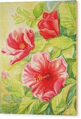 Wood Print featuring the painting Afternoon Hibiscus by Inese Poga