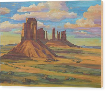 Wood Print featuring the painting Afternoon Light Monument Valley by Diane McClary