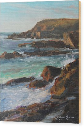 Afternoon Light Point Lobos Wood Print by Anna Rose Bain