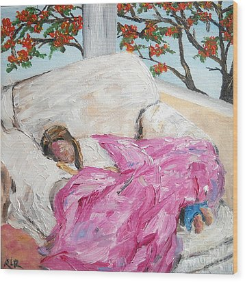 Wood Print featuring the painting Afternoon Nap At Grandmas by Reina Resto