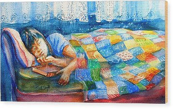 Afternoon Nap Wood Print by Trudi Doyle