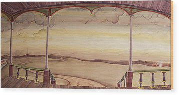Wood Print featuring the painting Afternoon On The Porch Of The Old Victorian by Scott Kirby
