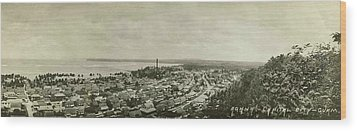 Agana Capital Of Guam Panorama Wood Print by eGuam Panoramic Photo