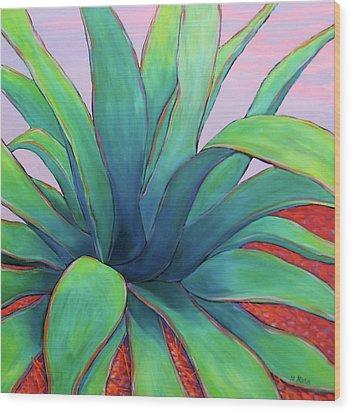 Agave Dusk Wood Print by Nancy Matus