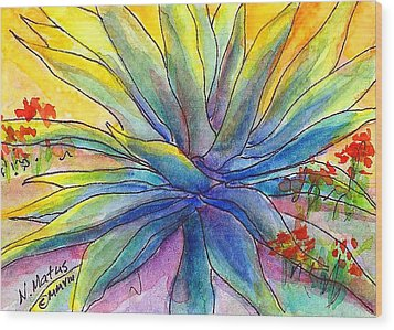 Agave Wood Print by Nancy Matus