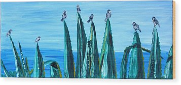 Agave With Sparrows Wood Print by Valerie Ornstein