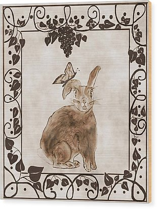 Aged Bunny Wood Print