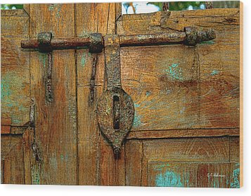 Aged Latch Wood Print by Christopher Holmes