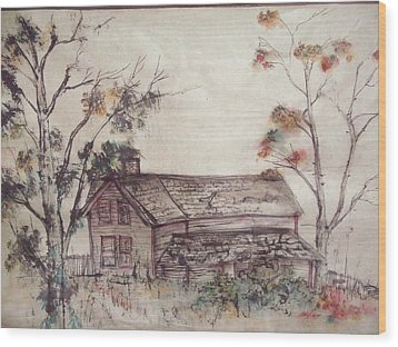 Wood Print featuring the painting Aged Wood by Debbi Saccomanno Chan