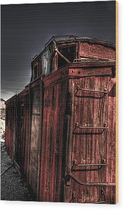 Aging Red Caboose Wood Print by Patrick  Flynn