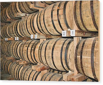 Aging The Whisky Wood Print by Kristin Elmquist