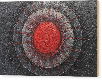 Wood Print featuring the painting Red And Black Abstract by Patricia Lintner