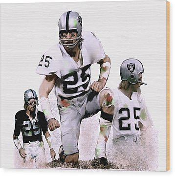 Wood Print featuring the painting Agony Of Greatness, Vii  Fred Biletnikoff  by Iconic Images Art Gallery David Pucciarelli
