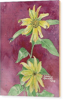 Wood Print featuring the painting Ah Sunflowers by Andrew Gillette