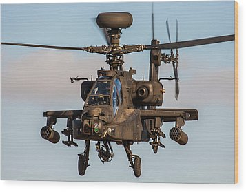 Ah64 Apache Flying Wood Print by Ken Brannen