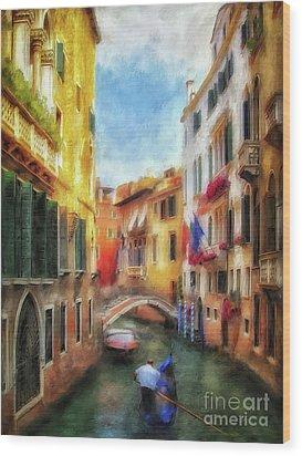 Wood Print featuring the digital art Ahh Venezia Painterly by Lois Bryan