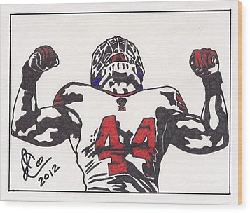 Wood Print featuring the drawing Ahmad Bradshaw by Jeremiah Colley
